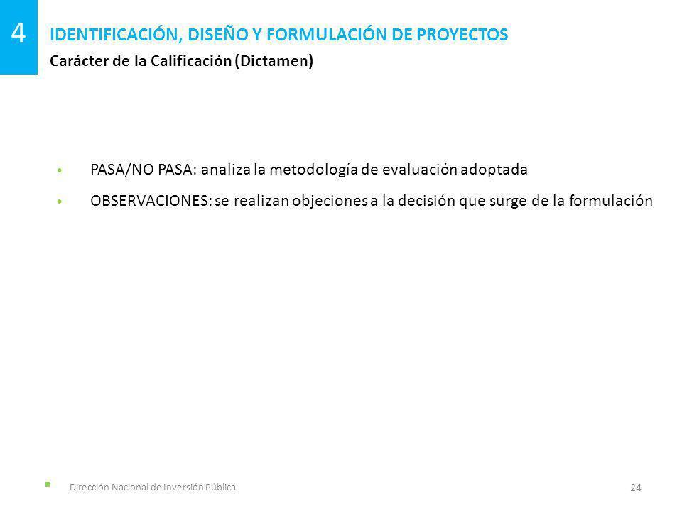 Dirección Nacional de Inversión Pública Carácter de la Calificación (Dictamen) IDENTIFICACIÓN, DISEÑO Y FORMULACIÓN DE PROYECTOS 24 4 PASA/NO PASA: an