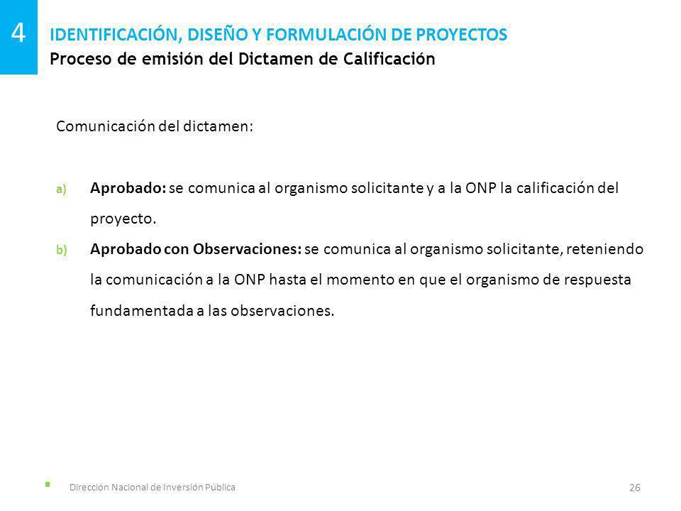 Dirección Nacional de Inversión Pública Proceso de emisión del Dictamen de Calificación IDENTIFICACIÓN, DISEÑO Y FORMULACIÓN DE PROYECTOS 26 4 Comunic