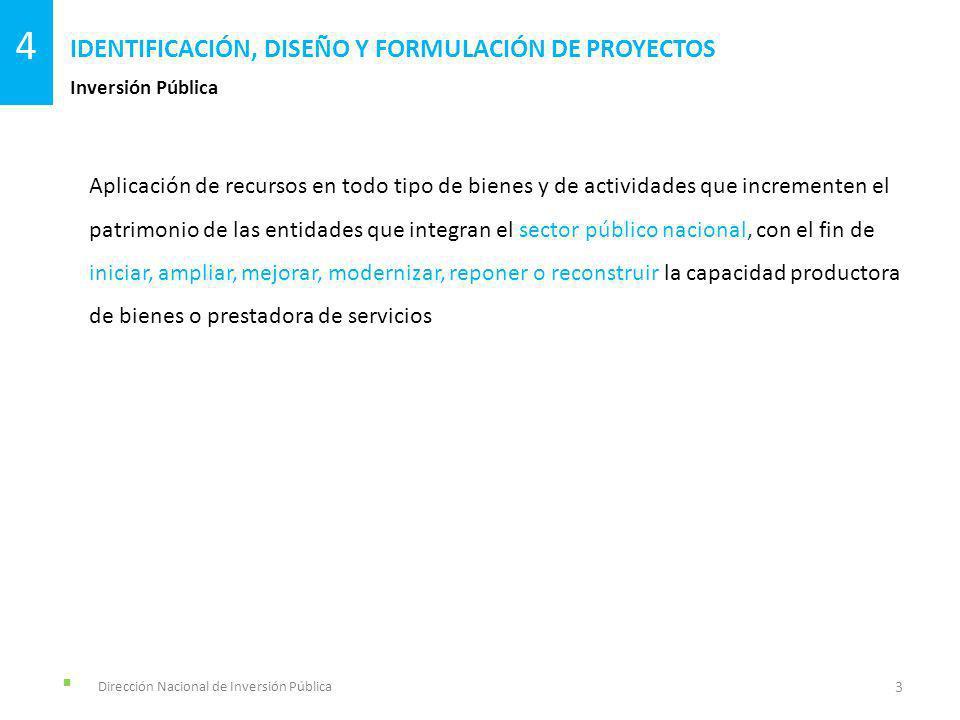 Dirección Nacional de Inversión Pública Inversión Pública IDENTIFICACIÓN, DISEÑO Y FORMULACIÓN DE PROYECTOS 3 4 Aplicación de recursos en todo tipo de