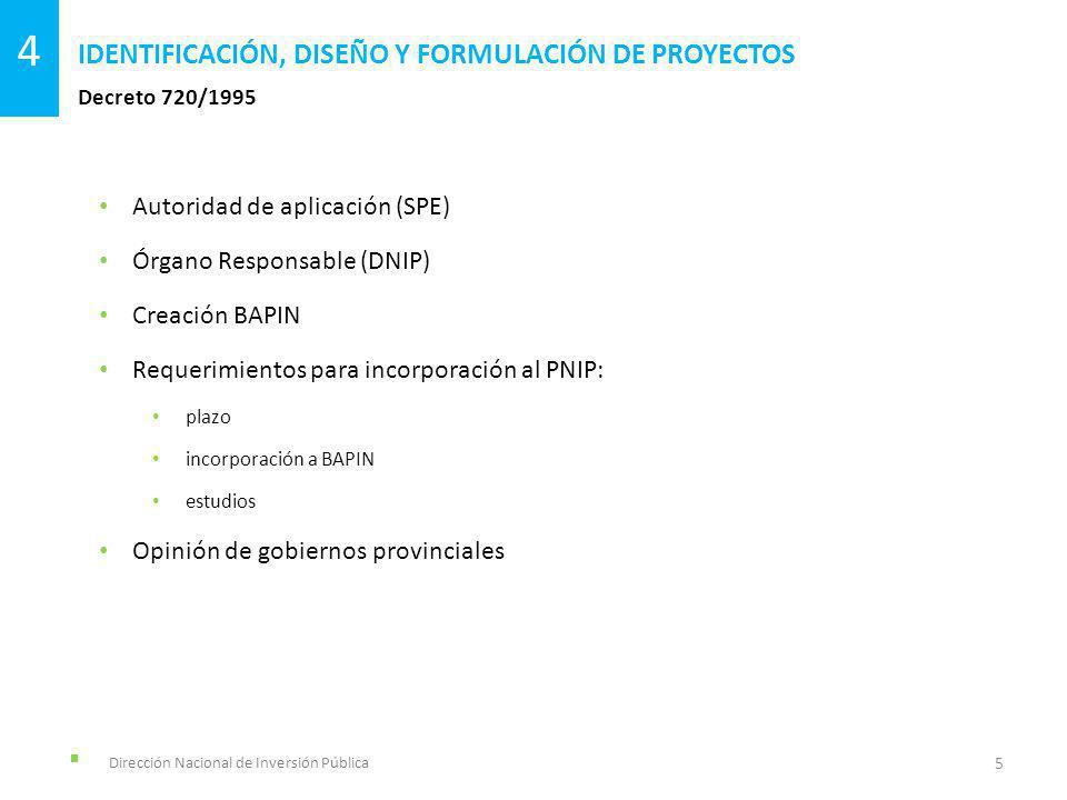 Dirección Nacional de Inversión Pública Decreto 720/1995 IDENTIFICACIÓN, DISEÑO Y FORMULACIÓN DE PROYECTOS 5 4 Autoridad de aplicación (SPE) Órgano Re