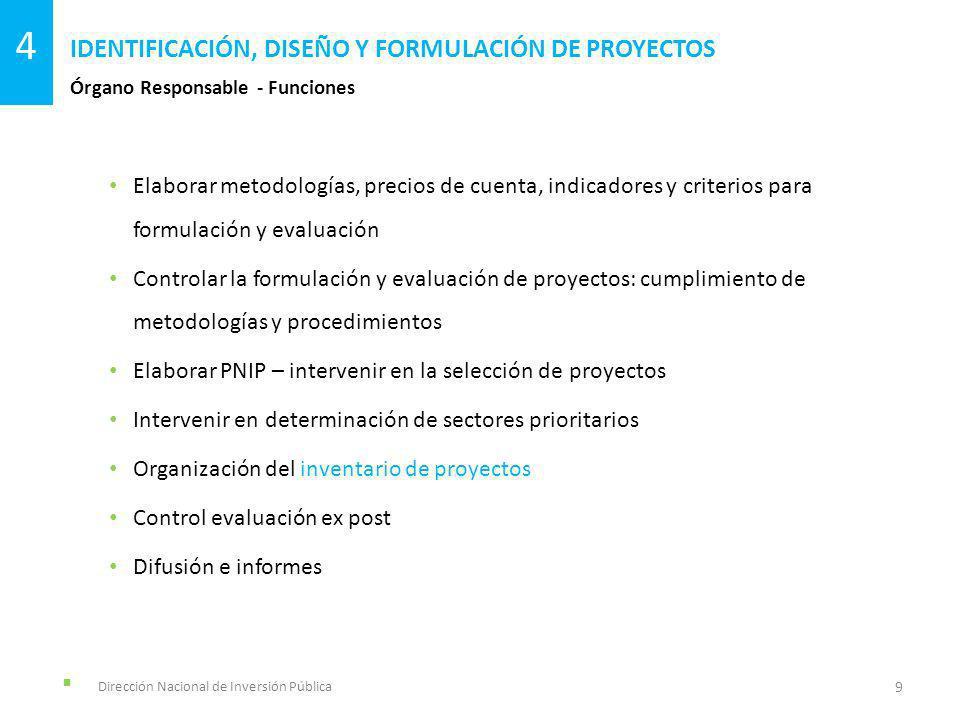Dirección Nacional de Inversión Pública Órgano Responsable - Funciones IDENTIFICACIÓN, DISEÑO Y FORMULACIÓN DE PROYECTOS 9 4 Elaborar metodologías, precios de cuenta, indicadores y criterios para formulación y evaluación Controlar la formulación y evaluación de proyectos: cumplimiento de metodologías y procedimientos Elaborar PNIP – intervenir en la selección de proyectos Intervenir en determinación de sectores prioritarios Organización del inventario de proyectos Control evaluación ex post Difusión e informes