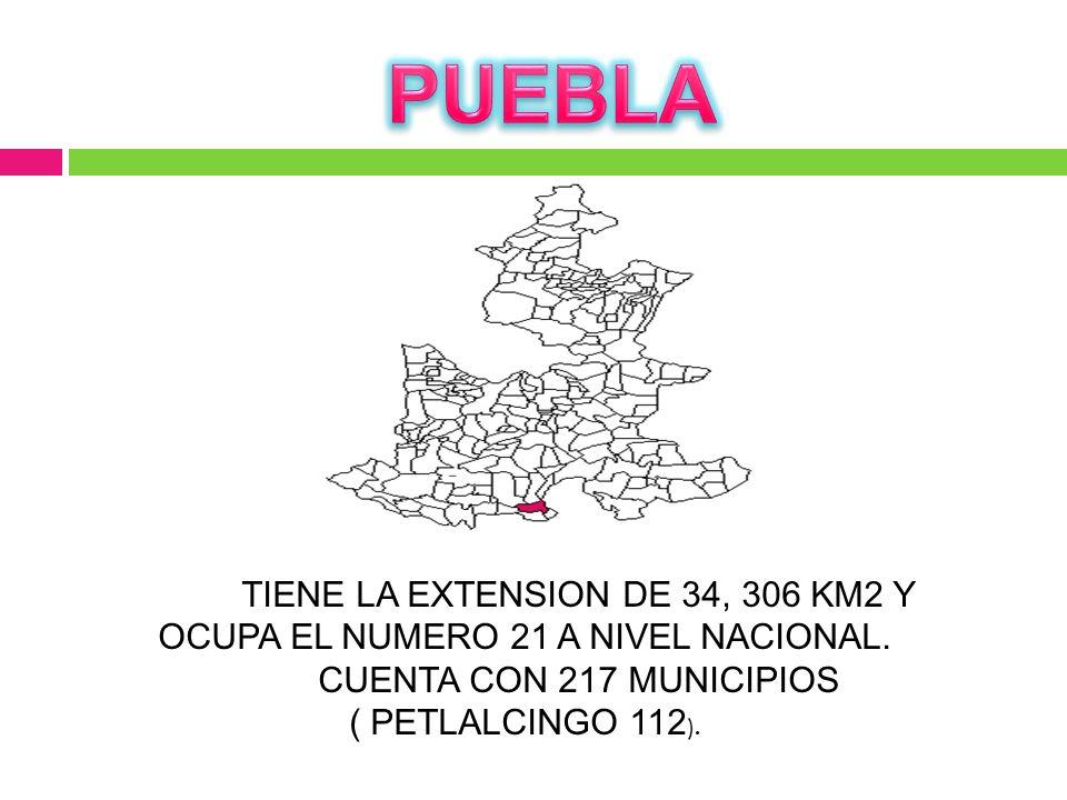 TIENE LA EXTENSION DE 34, 306 KM2 Y OCUPA EL NUMERO 21 A NIVEL NACIONAL. CUENTA CON 217 MUNICIPIOS ( PETLALCINGO 112 ).