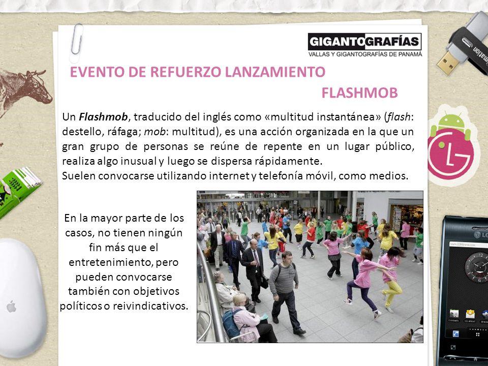Un Flashmob, traducido del inglés como «multitud instantánea» (flash: destello, ráfaga; mob: multitud), es una acción organizada en la que un gran grupo de personas se reúne de repente en un lugar público, realiza algo inusual y luego se dispersa rápidamente.