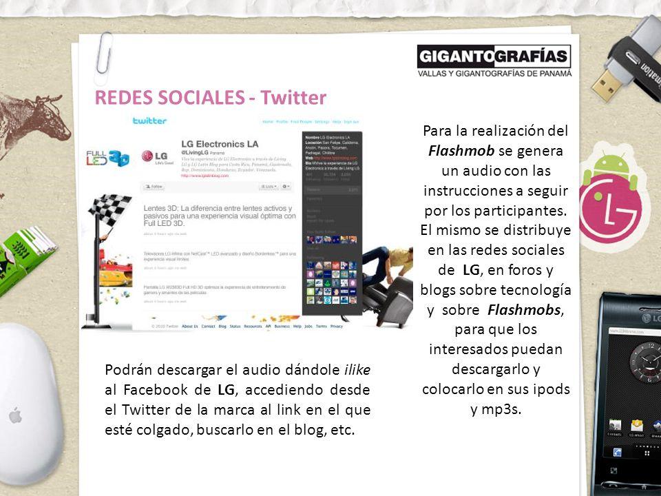 REDES SOCIALES - Twitter Para la realización del Flashmob se genera un audio con las instrucciones a seguir por los participantes.