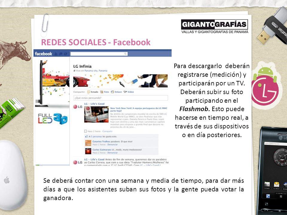 REDES SOCIALES - Facebook Para descargarlo deberán registrarse (medición) y participarán por un TV.