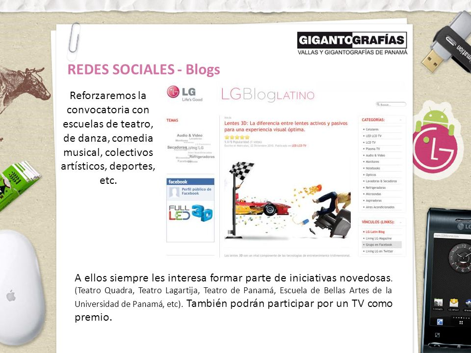 REDES SOCIALES - Blogs Reforzaremos la convocatoria con escuelas de teatro, de danza, comedia musical, colectivos artísticos, deportes, etc.