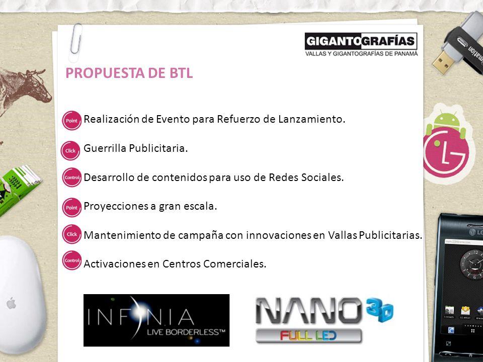 PROPUESTA DE BTL Realización de Evento para Refuerzo de Lanzamiento.