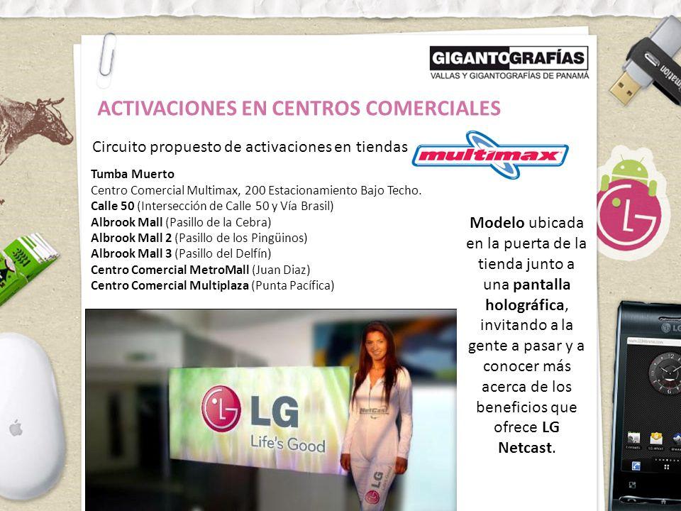 ACTIVACIONES EN CENTROS COMERCIALES Circuito propuesto de activaciones en tiendas Tumba Muerto Centro Comercial Multimax, 200 Estacionamiento Bajo Techo.