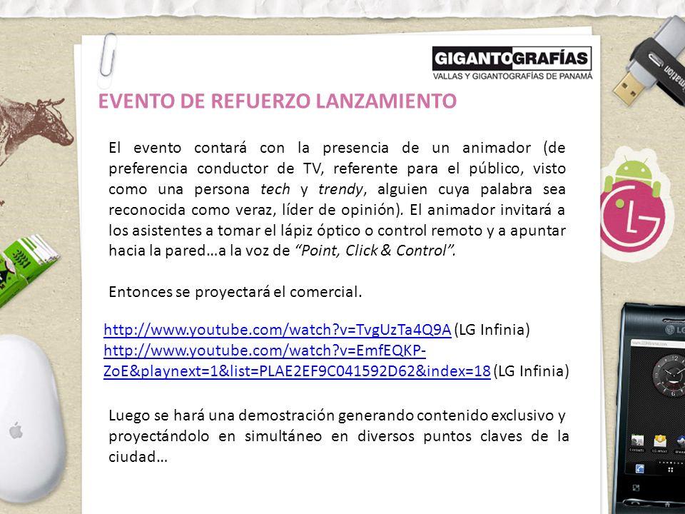 EVENTO DE REFUERZO LANZAMIENTO PARED DE PROYECCIÓN UBICACIÓN EN LA CIUDAD Proponemos realizar un Flashmob en Parque Omar, haciendo uso del auditorio.