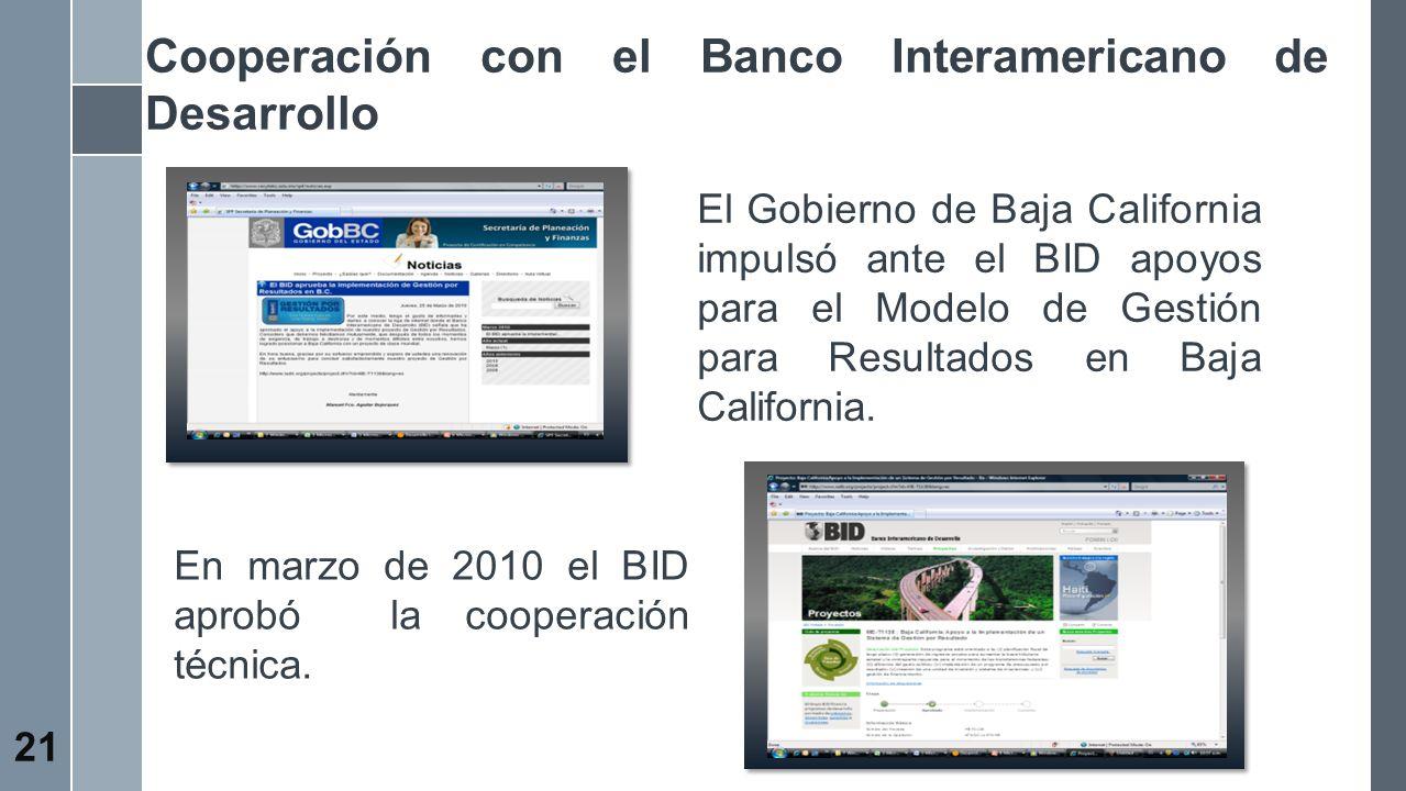 Cooperación con el Banco Interamericano de Desarrollo 21 El Gobierno de Baja California impulsó ante el BID apoyos para el Modelo de Gestión para Resu