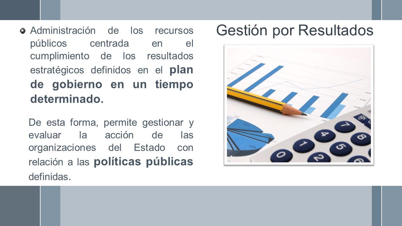 Gestión por Resultados Administración de los recursos públicos centrada en el cumplimiento de los resultados estratégicos definidos en el plan de gobi