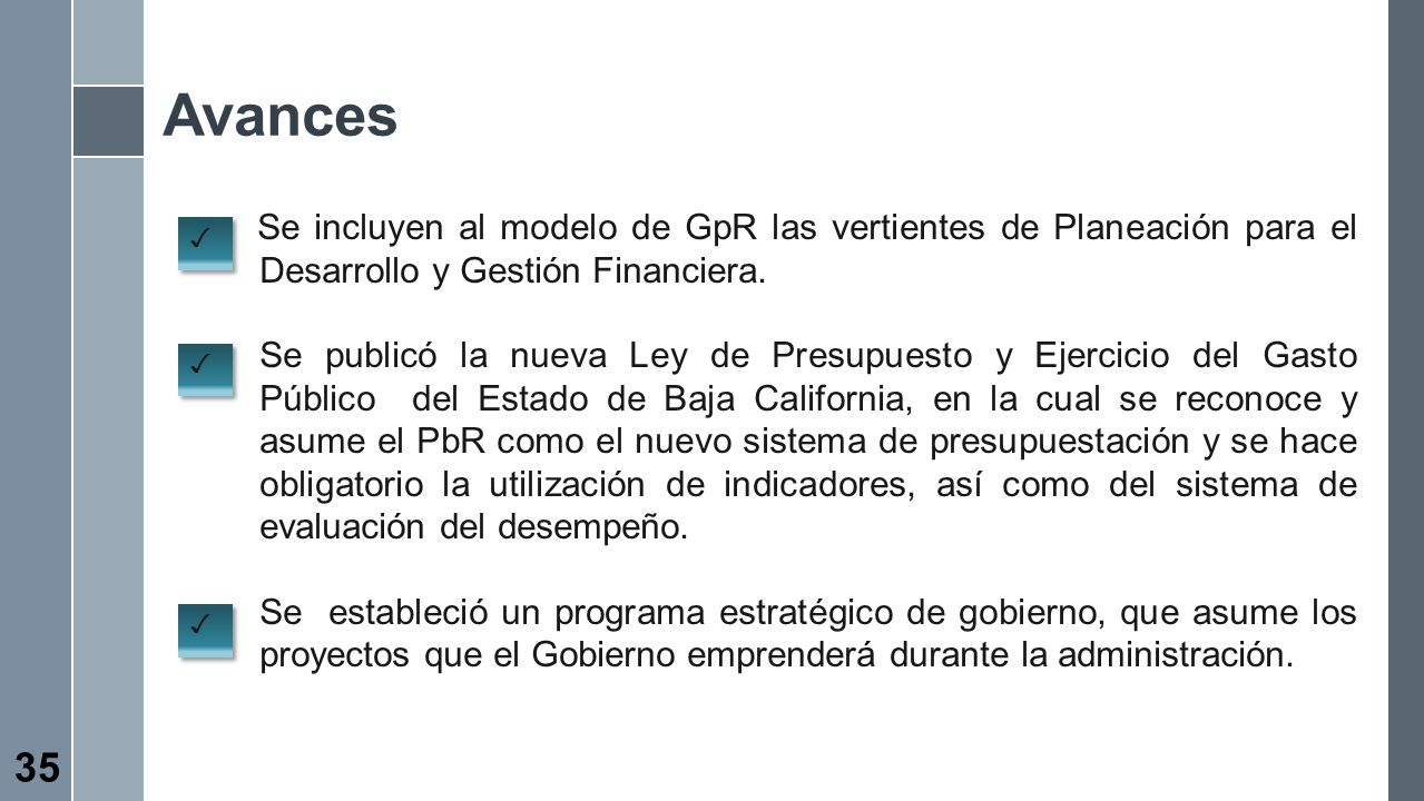 Avances Se incluyen al modelo de GpR las vertientes de Planeación para el Desarrollo y Gestión Financiera. Se publicó la nueva Ley de Presupuesto y Ej