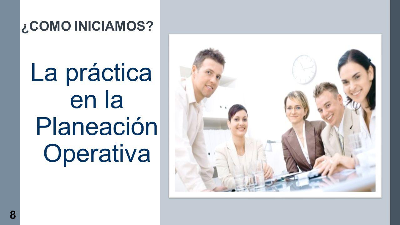 ¿COMO INICIAMOS? La práctica en la Planeación Operativa 8