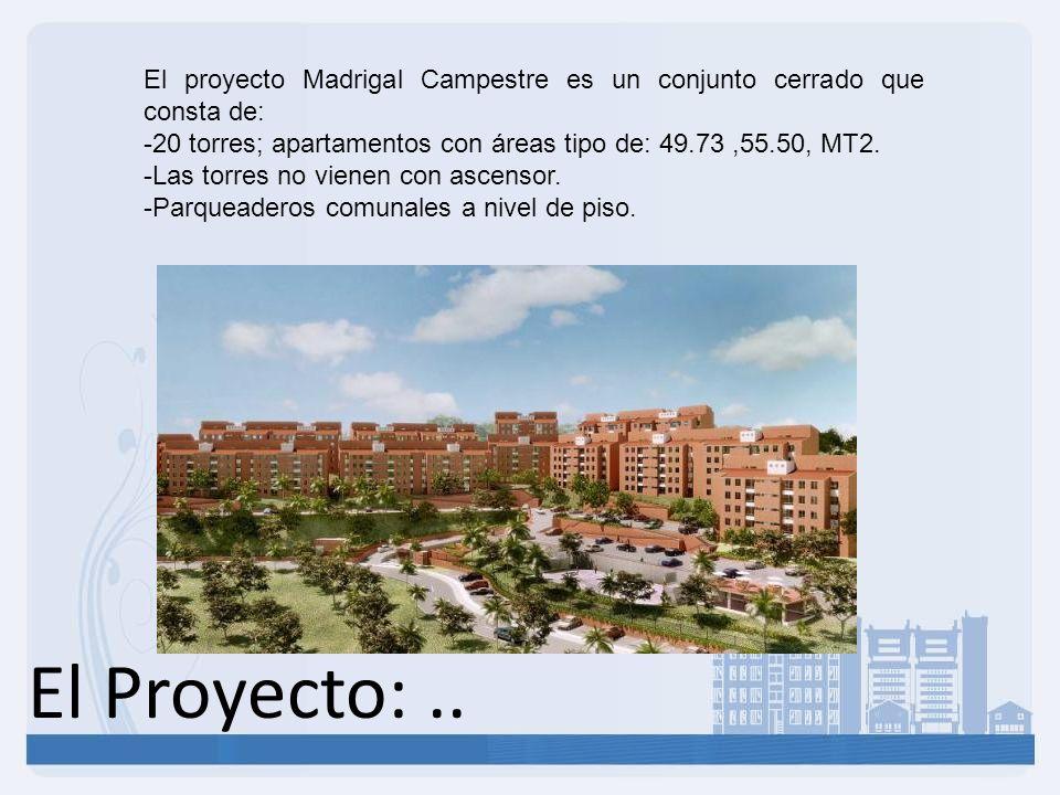 El proyecto Madrigal Campestre es un conjunto cerrado que consta de: -20 torres; apartamentos con áreas tipo de: 49.73,55.50, MT2. -Las torres no vien