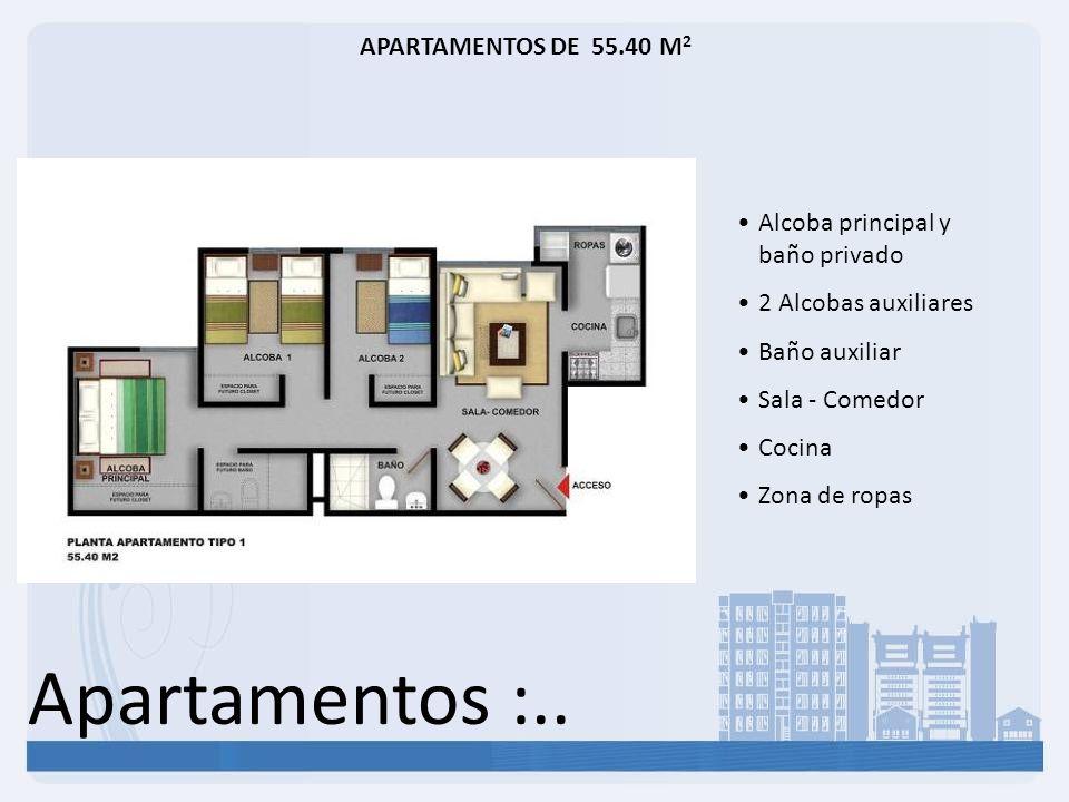 Apartamentos :.. APARTAMENTOS DE 55.40 M 2 Alcoba principal y baño privado 2 Alcobas auxiliares Baño auxiliar Sala - Comedor Cocina Zona de ropas