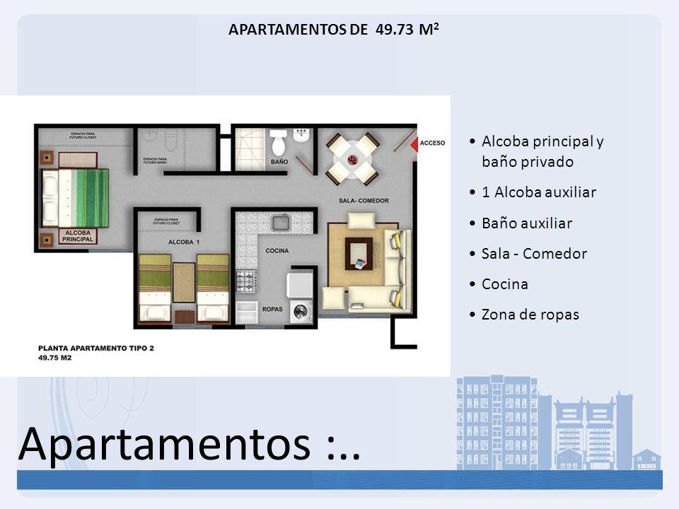Apartamentos :.. APARTAMENTOS DE 49.73 M 2 Alcoba principal y baño privado 1 Alcoba auxiliar Baño auxiliar Sala - Comedor Cocina Zona de ropas