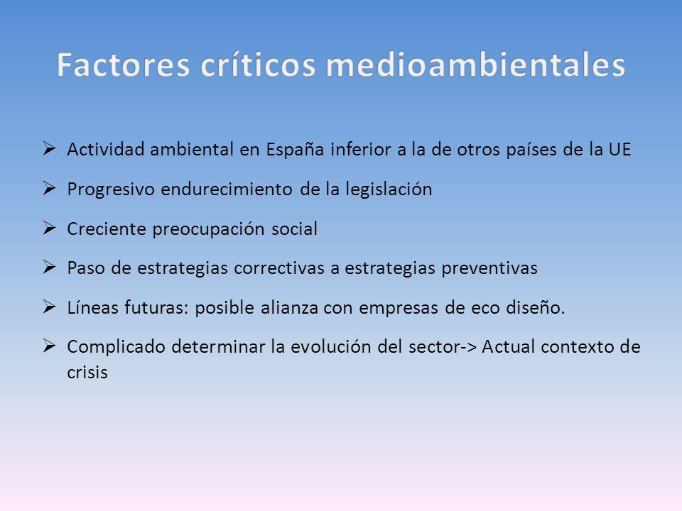 Actividad ambiental en España inferior a la de otros países de la UE Progresivo endurecimiento de la legislación Creciente preocupación social Paso de estrategias correctivas a estrategias preventivas Líneas futuras: posible alianza con empresas de eco diseño.