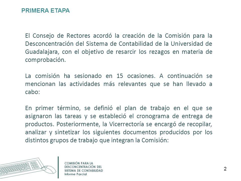 PRIMERA ETAPA COMISIÓN PARA LA DESCONCENTRACIÓN DEL SISTEMA DE CONTABILIDAD Informe Parcial El Consejo de Rectores acordó la creación de la Comisión p