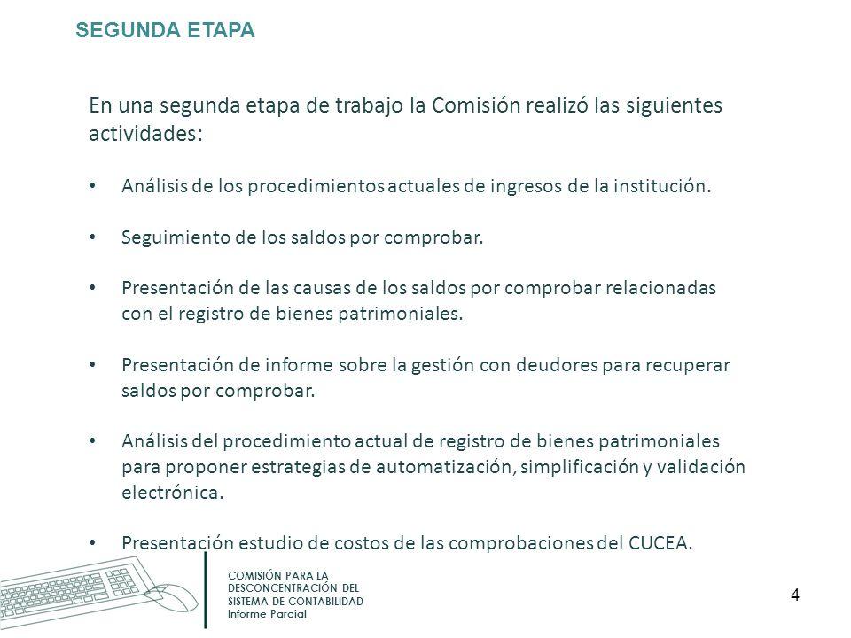 SEGUNDA ETAPA COMISIÓN PARA LA DESCONCENTRACIÓN DEL SISTEMA DE CONTABILIDAD Informe Parcial En una segunda etapa de trabajo la Comisión realizó las si