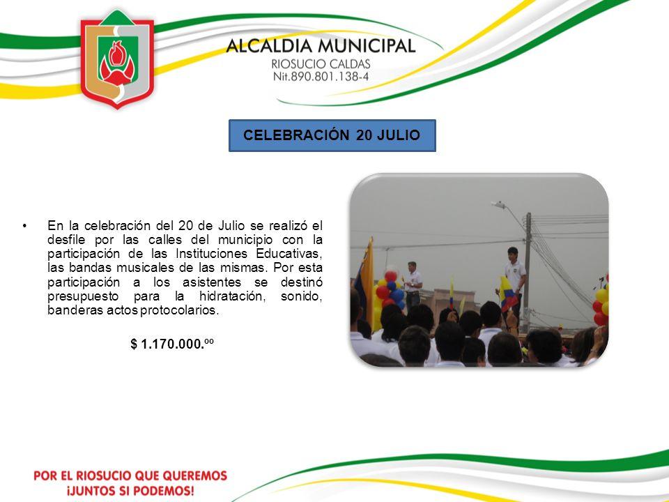 CELEBRACIÓN 20 JULIO En la celebración del 20 de Julio se realizó el desfile por las calles del municipio con la participación de las Instituciones Ed