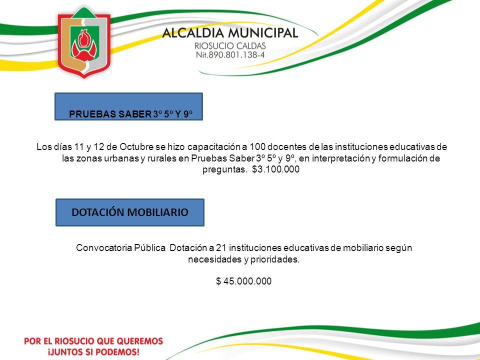 PRUEBAS SABER 3º 5º Y 9º Los días 11 y 12 de Octubre se hizo capacitación a 100 docentes de las instituciones educativas de las zonas urbanas y rurale