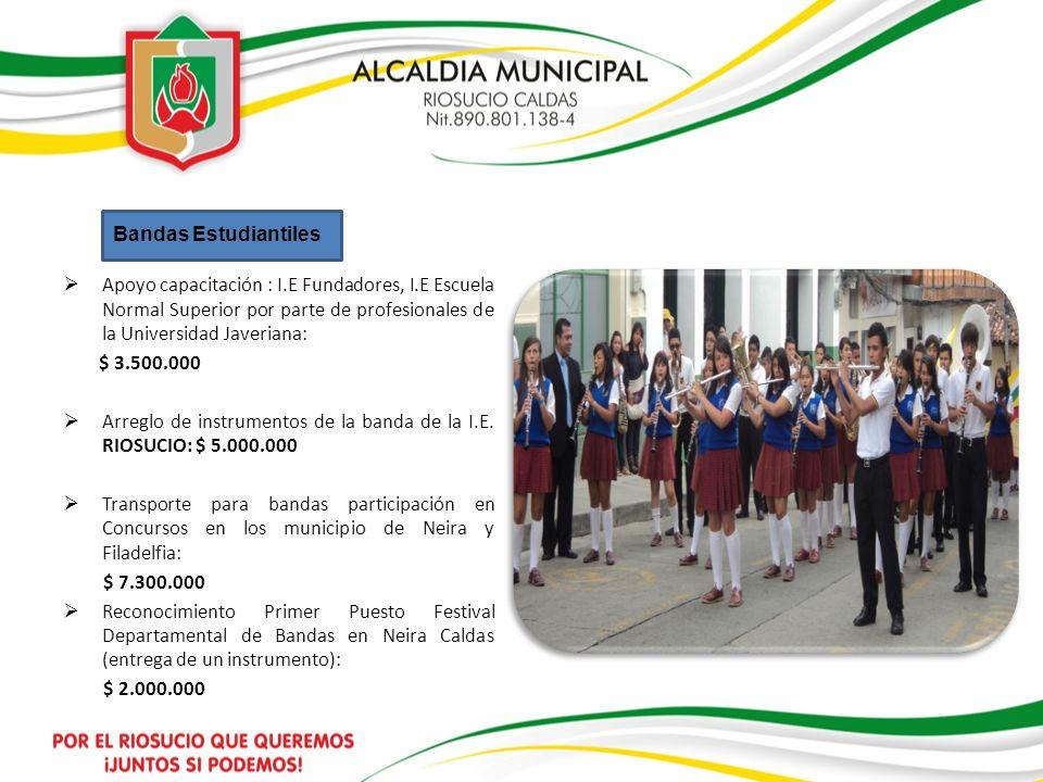 Bandas Estudiantiles Apoyo capacitación : I.E Fundadores, I.E Escuela Normal Superior por parte de profesionales de la Universidad Javeriana: $ 3.500.