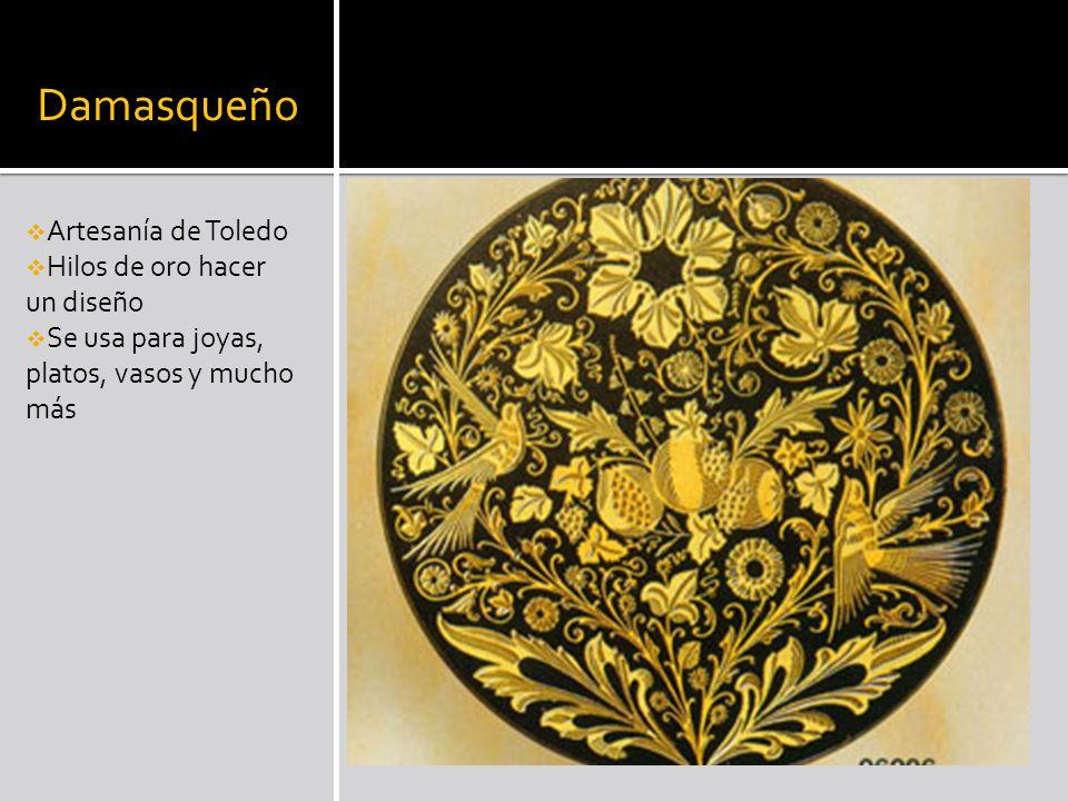 Damasqueño Artesanía de Toledo Hilos de oro hacer un diseño Se usa para joyas, platos, vasos y mucho más
