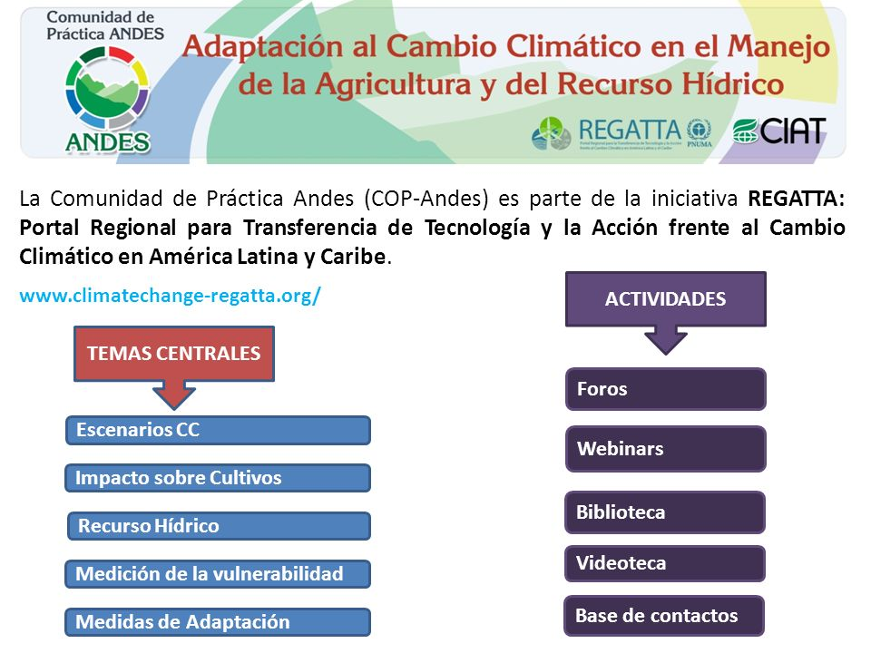 La Comunidad de Práctica Andes (COP-Andes) es parte de la iniciativa REGATTA: Portal Regional para Transferencia de Tecnología y la Acción frente al Cambio Climático en América Latina y Caribe.