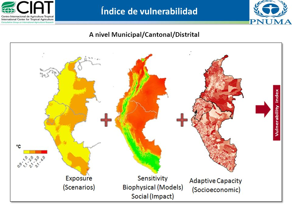 Institutions, governance and social capital Local organization Communal development groups Communal emergency committees Geographical and demographic factors Coastal risk km of coastline (scale by land area) Population within 100km of coastline (%) Infrastructure/diseasePopulation density Dependence on agriculture Agricultural employees (% of total population) Rural population (% of total) Dependence by type of agriculture (subsistence, cash crops, non-traditional) Agriculture productive context Land tenure & distributionPopulation by type of land tenure Land distribution equityDistribution by farm size Irrigation infrastructureAccess to irrigation Technical assistanceAccess to technical assistance Natural resources and ecosystems Environmental stress Land managed (%) Protected land area (%) Forest change rate (% per year) Percent forest cover Unpopulated land area Sustainability of water resources Groundwater recharge per capita Water resources per capita