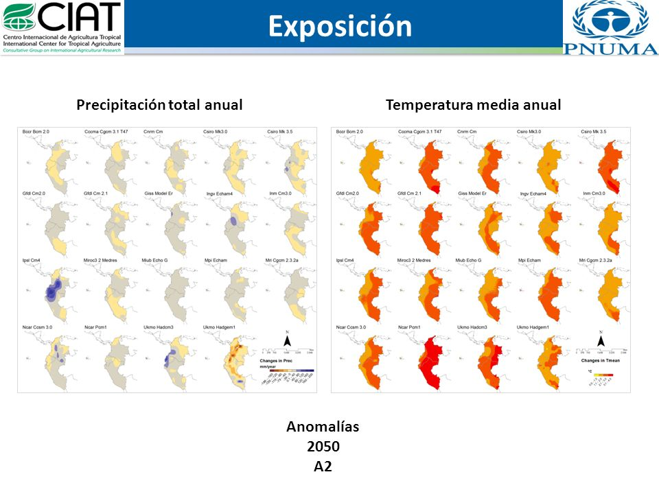 Exposición Anomalías 2050 A2 Temperatura media anualPrecipitación total anual