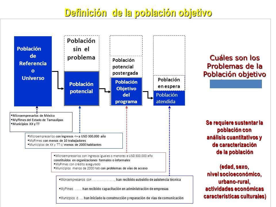 16 Definición de la población objetivo Cuáles son los Problemas de la Población objetivo Del programa Población sin el problema Población de Referenci