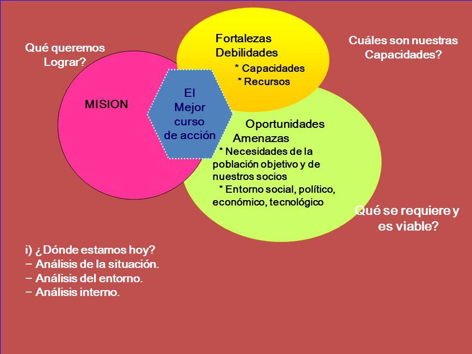 MISION Oportunidades Amenazas * Necesidades de la población objetivo y de nuestros socios * Entorno social, político, económico, tecnológico Cuáles son nuestras Capacidades.
