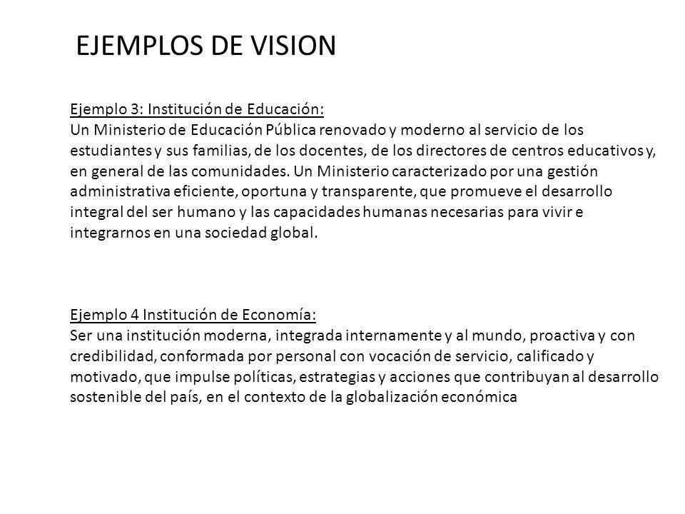 Ejemplo 3: Institución de Educación: Un Ministerio de Educación Pública renovado y moderno al servicio de los estudiantes y sus familias, de los docen