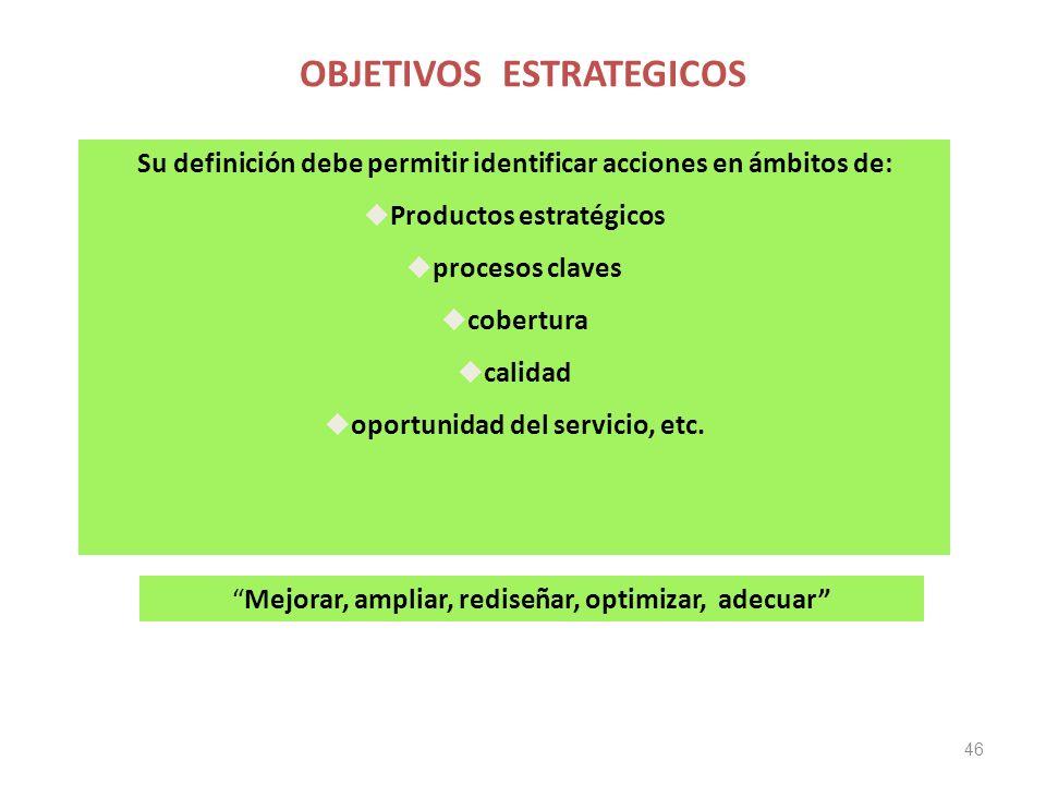 OBJETIVOS ESTRATEGICOS 46 Su definición debe permitir identificar acciones en ámbitos de: Productos estratégicos procesos claves cobertura calidad oportunidad del servicio, etc.