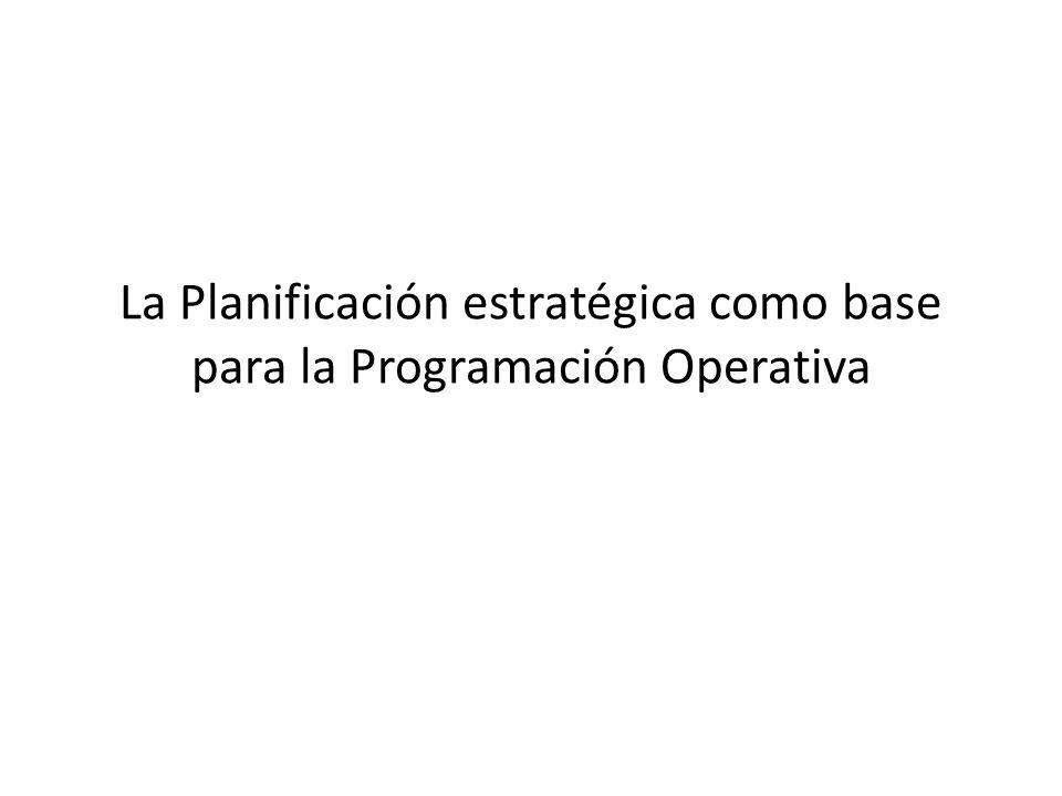 La Planificación estratégica como base para la Programación Operativa