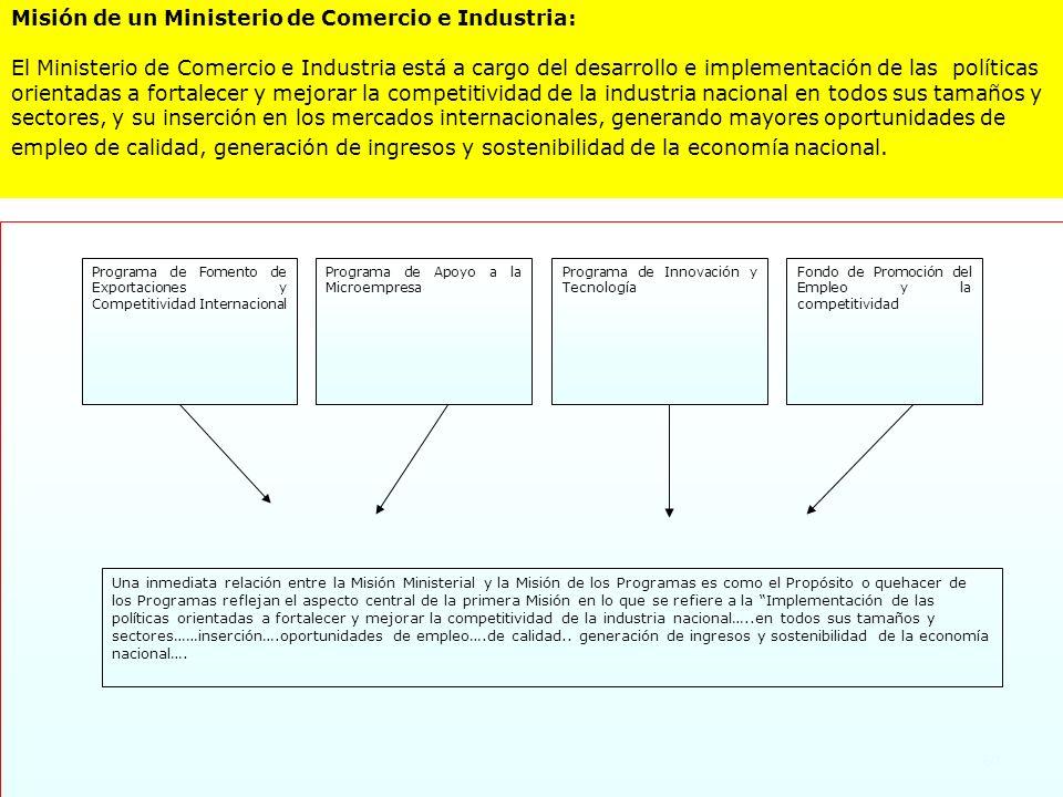 60 Una inmediata relación entre la Misión Ministerial y la Misión de los Programas es como el Propósito o quehacer de los Programas reflejan el aspect