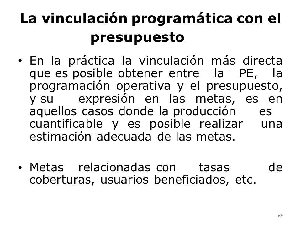 La vinculación programática con el presupuesto En la práctica la vinculación más directa que es posible obtener entre la PE, la programación operativa y el presupuesto, y su expresión en las metas, es en aquellos casos donde la producción es cuantificable y es posible realizar una estimación adecuada de las metas.
