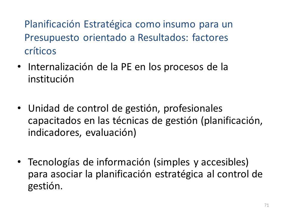 Internalización de la PE en los procesos de la institución Unidad de control de gestión, profesionales capacitados en las técnicas de gestión (planificación, indicadores, evaluación) Tecnologías de información (simples y accesibles) para asociar la planificación estratégica al control de gestión.