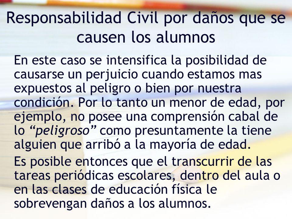 Responsabilidad Civil por daños que se causen los alumnos En este caso se intensifica la posibilidad de causarse un perjuicio cuando estamos mas expue