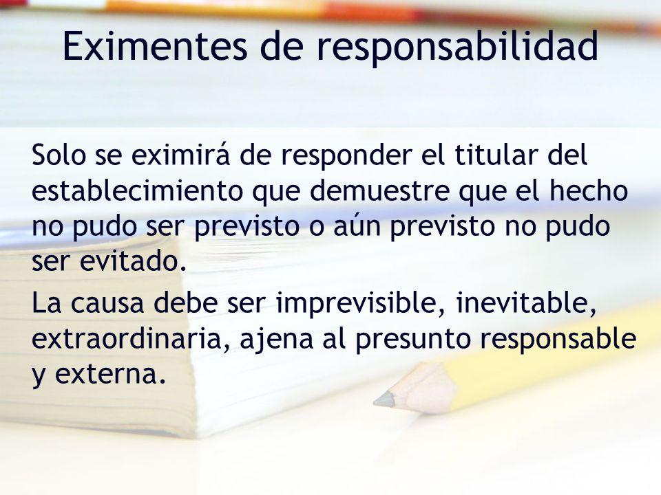 Eximentes de responsabilidad Solo se eximirá de responder el titular del establecimiento que demuestre que el hecho no pudo ser previsto o aún previst