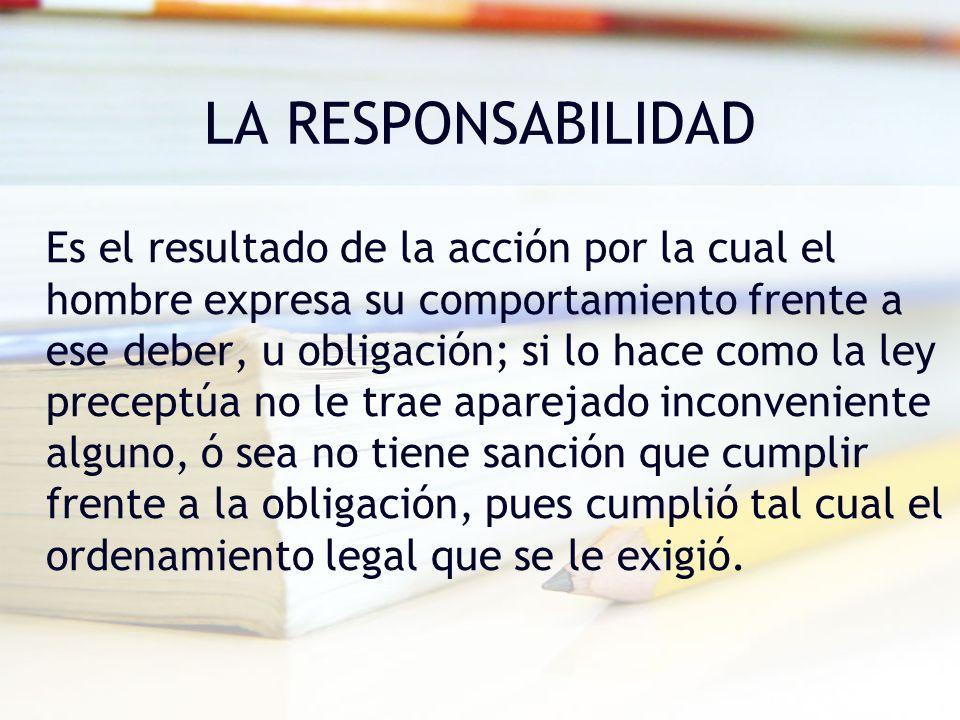 LA RESPONSABILIDAD Es el resultado de la acción por la cual el hombre expresa su comportamiento frente a ese deber, u obligación; si lo hace como la l