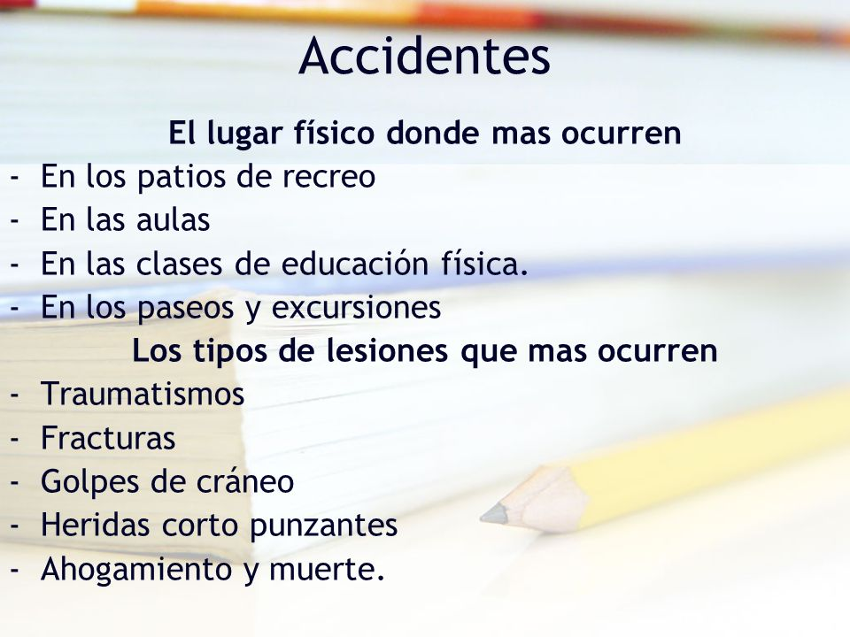 Accidentes El lugar físico donde mas ocurren -En los patios de recreo -En las aulas -En las clases de educación física. -En los paseos y excursiones L