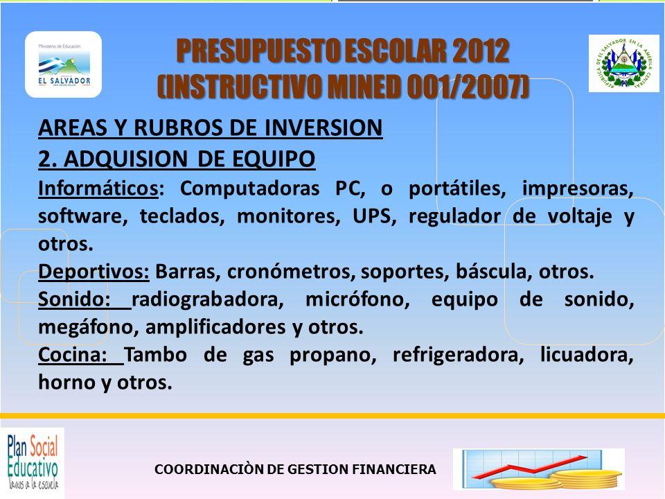 COORDINACIÒN DE GESTION FINANCIERA PRESUPUESTO ESCOLAR 2012 (INSTRUCTIVO MINED 001/2007) AREAS Y RUBROS DE INVERSION 3.