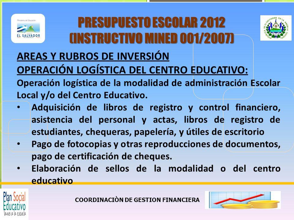COORDINACIÒN DE GESTION FINANCIERA PRESUPUESTO ESCOLAR 2012 (INSTRUCTIVO MINED 001/2007) AREAS Y RUBROS DE INVERSIÓN OPERACIÓN LOGÍSTICA DEL CENTRO EDUCATIVO: Operación logística de la modalidad de administración Escolar Local y/o del Centro Educativo.