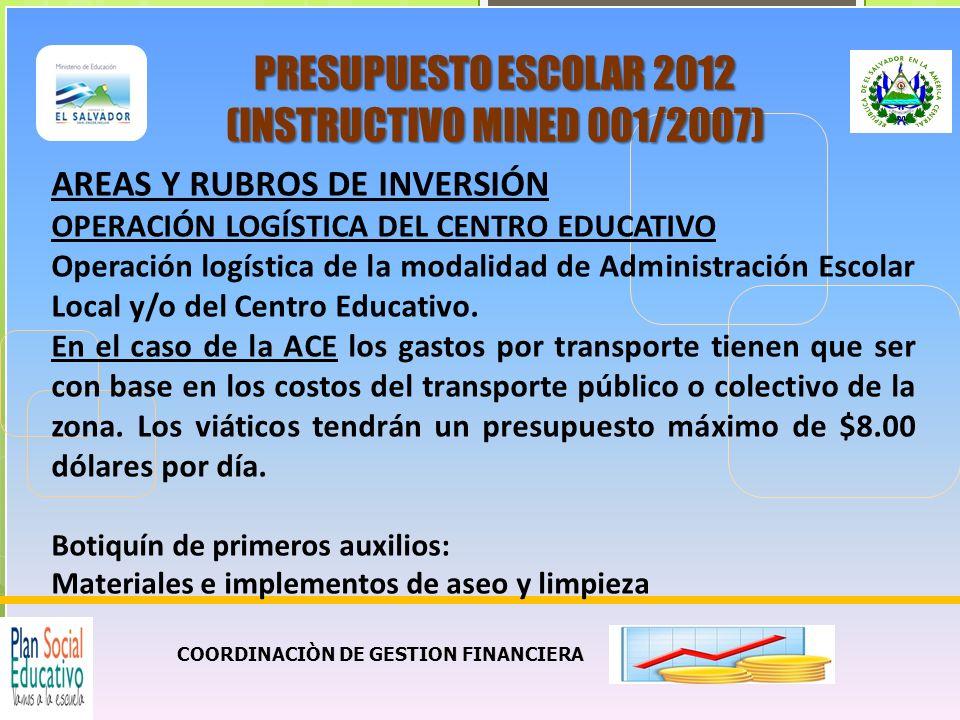 COORDINACIÒN DE GESTION FINANCIERA PRESUPUESTO ESCOLAR 2012 (INSTRUCTIVO MINED 001/2007) AREAS Y RUBROS DE INVERSION OPERACIÓN LOGISTICA DEL CENTRO EDUCATIVO 5.