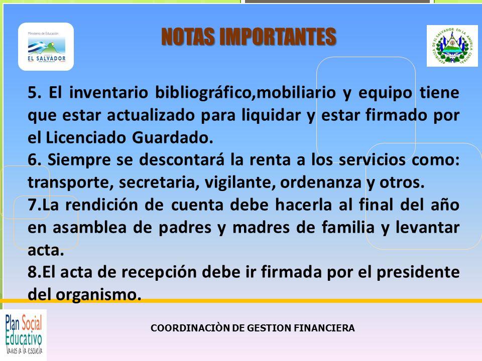 COORDINACIÒN DE GESTION FINANCIERA NOTAS IMPORTANTES 5.