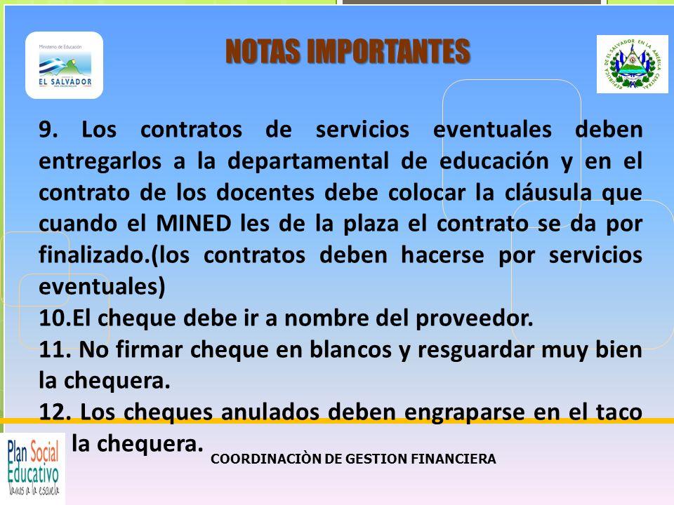COORDINACIÒN DE GESTION FINANCIERA NOTAS IMPORTANTES 13.