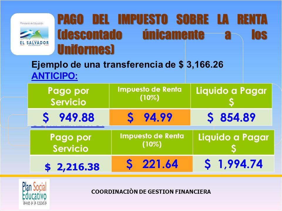 COMPLEMENTO: COORDINACIÒN DE GESTION FINANCIERA PAGO DEL IMPUESTO SOBRE LA RENTA (descontado únicamente a los Uniformes) Pago por Servicio Impuesto de Renta (10%) Liquido a Pagar $ $ 949.88$ 94.99$ 854.89 Ejemplo de una transferencia de $ 3,166.26 ANTICIPO: Pago por Servicio Impuesto de Renta (10%) Liquido a Pagar $ $ 2,216.38 $ 221.64$ 1,994.74