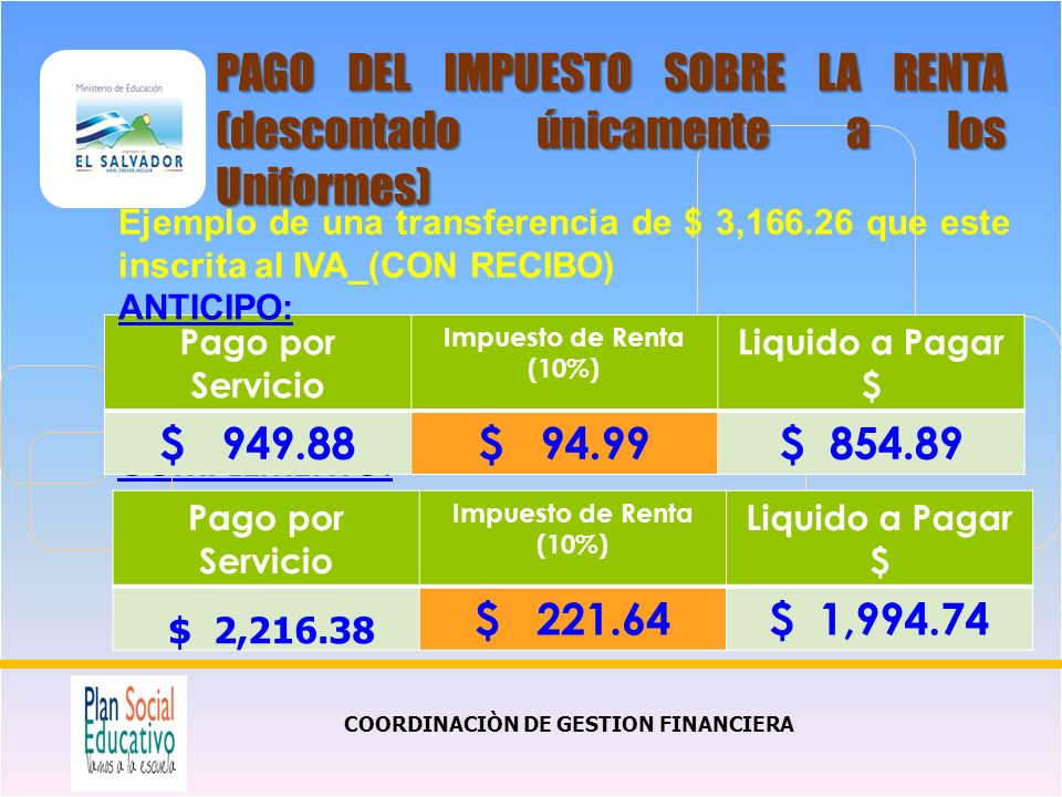 COMPLEMENTO: COORDINACIÒN DE GESTION FINANCIERA PAGO DEL IMPUESTO SOBRE LA RENTA (descontado únicamente a los Uniformes) Pago por Servicio Impuesto de Renta (10%) Liquido a Pagar $ $ 949.88$ 94.99$ 854.89 Ejemplo de una transferencia de $ 3,166.26 que este inscrita al IVA_(CON RECIBO) ANTICIPO: Pago por Servicio Impuesto de Renta (10%) Liquido a Pagar $ $ 2,216.38 $ 221.64$ 1,994.74