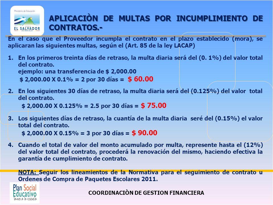 COORDINACIÒN DE GESTION FINANCIERA APLICACIÒN DE MULTAS POR INCUMPLIMIENTO DE CONTRATOS.- En el caso que el Proveedor incumpla el contrato en el plazo establecido (mora), se aplicaran las siguientes multas, según el (Art.